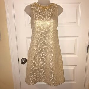Gold statement neckline dress